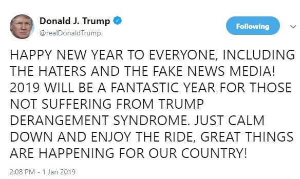 Happy New Year to everyone including the haters and fake news media – President Trump