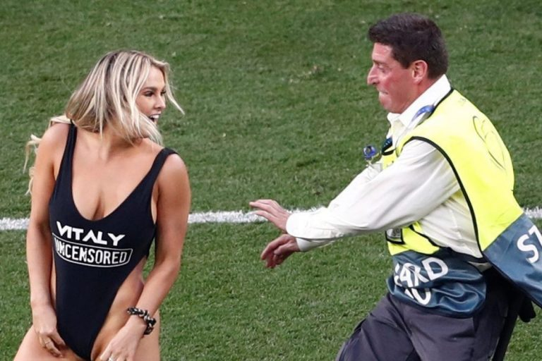 Swimsuit-clad Russian model invades the pitch at Champions League final