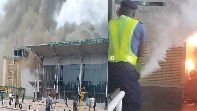 Fire outbreak at Sam Mbakwe airport (photo/Video)