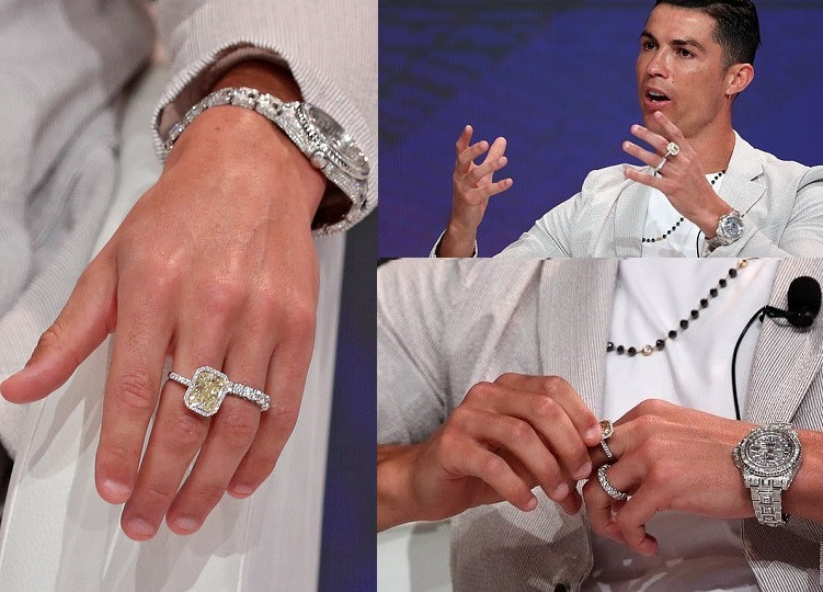 Image result for images of Cristiano Ronaldo Flaunts £630k Jewellery Including Rolex's Most Expensive Diamond-encrusted Watch In Dubai