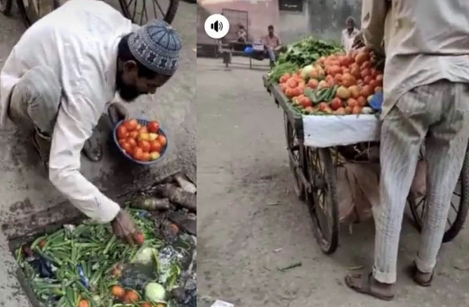 SCARY! Vegetable seller spotted picking 'goods' from dirty items