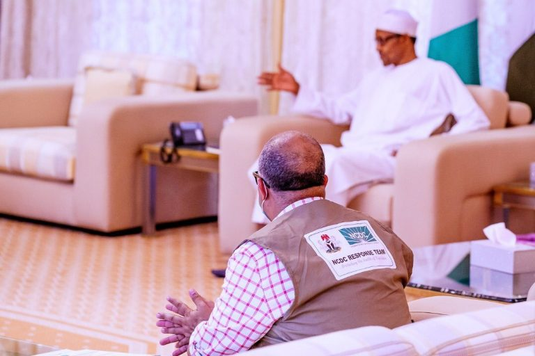 President Buhari receives Minister of Health, DG NCDC at the State House (video)