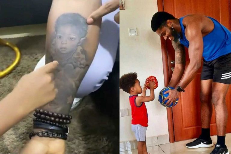 """""""What if you find out you are not his father"""" – Lady ask Praise after he tattooed his son's face on his arm"""