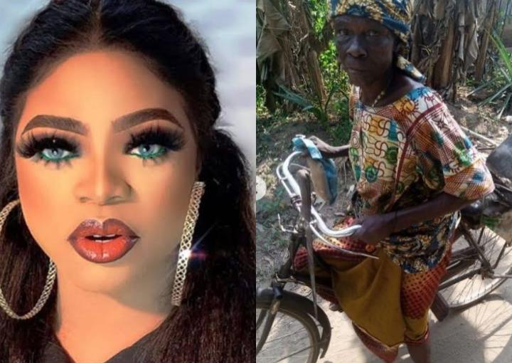 Bobrisky invites old woman living in abject poverty into her mansion to change her life (Video)