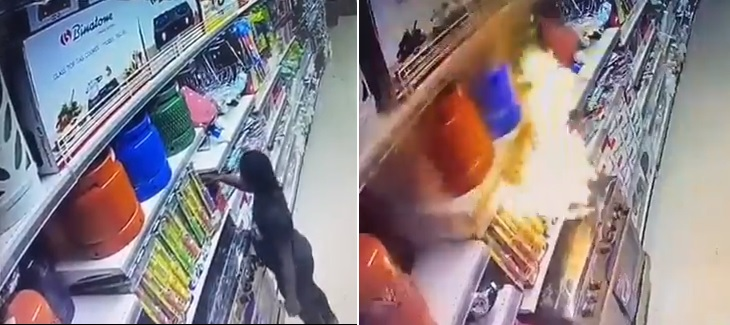 Shocking Video shows moment lady set Ebeano supermarket Abuja on fire and burnt it to the ground