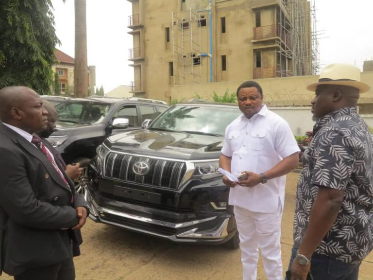 Governor Ayade Gifts Toyota Land Cruiser SUVs To Reps Who Decamped To APC (Pics)