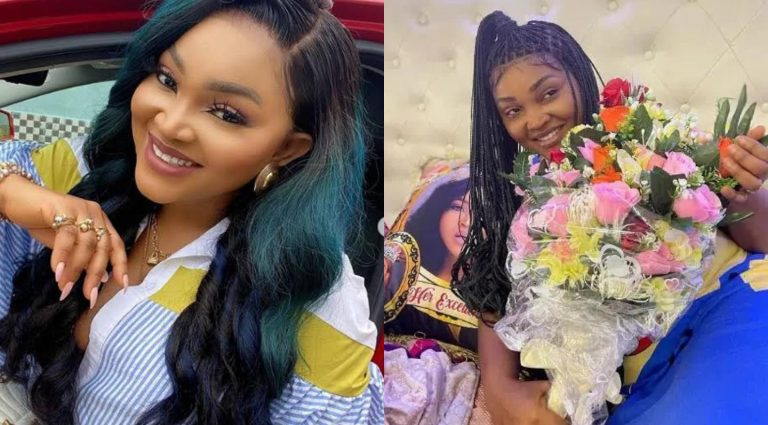 """""""How I woke up, love is a beautiful thing"""" –  Mercy Aigbe says as she shares beautiful flowers she received from her lover (Photo)"""