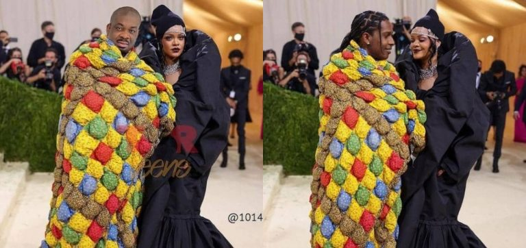 """""""True love never gets cold"""" – Fans react as Don Jazzy crops out Rihanna's lover, photoshops himself beside her (Photos)"""