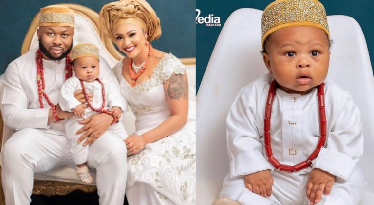 Olakunle Churchill and his wife, Rosy Meurer finally unveils the face of their son
