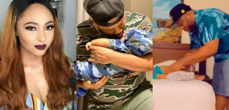 'Sweet husband and daddy material one million yards' – Rosy Meurer praises her husband, Olakunle Churchill for always assisting her with their baby (Video)